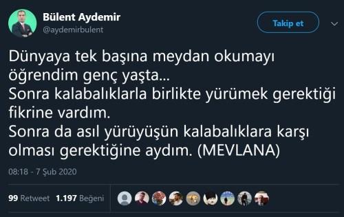 Bülent Aydemir'in Can Dündar'a ait sözleri Mevlana'ya atfettiği paylaşımı