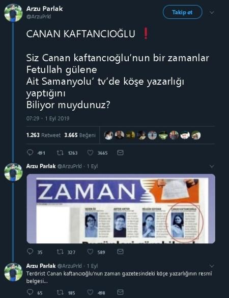 Canan Kaftancıoğlu'nun Samanyolu TV'de köşe yazarlığı yaptığını iddia eden paylaşım