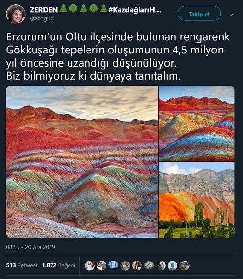 Çin'deki gökkuşağı dağlarına ait fotoyu Erzurum'daki gökkuşağı tepelerine ait olduğu iddiasıyla paylaşan tweet