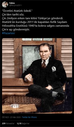 """Çin'in 2 milyon koronavirus hızlı tanı kitlerinin üzerine """"Atatürk ücretini ödedi"""" yazarak Türkiye'ye ücretsiz gönderdiği iddiasını içeren paylaşım"""