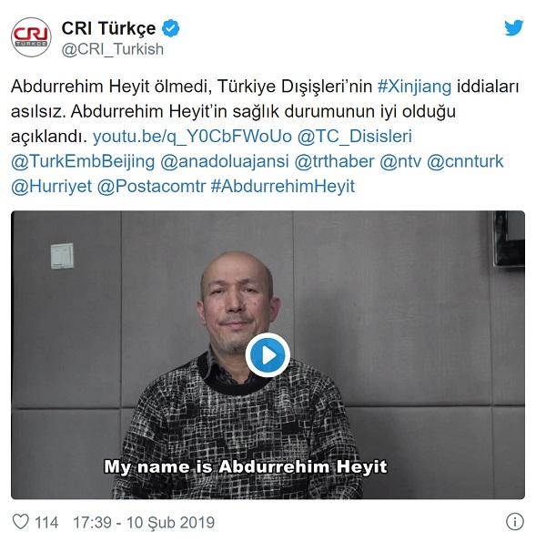 Uygur halk ozanı Abdurehim Heyit'in Çin'de hapishanede hayatını kaybetmediğine ilişkin CRI Türkçe'nin paylaşımı