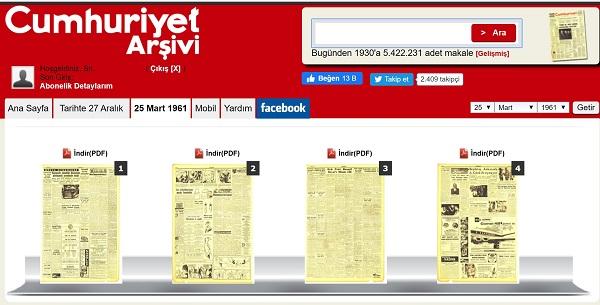 Cumhuriyet Gazetesinin 25 Mart 1961 tarihli nüshasının ilk 2 sayfası dijital arşivlerinde görülemiyor