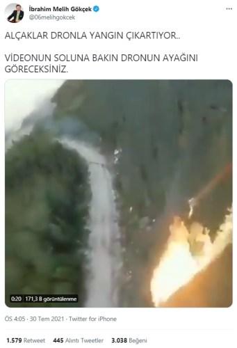 dronela orman yangını çıkaran