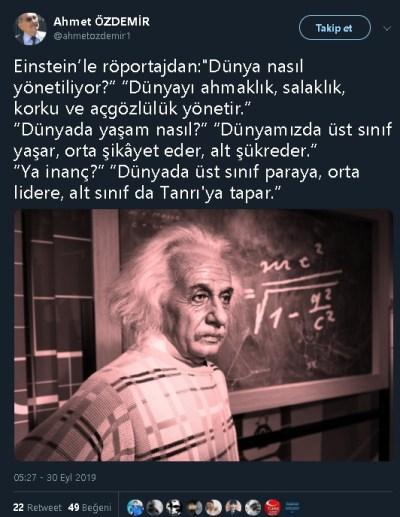 """""""Dünyada Üst Sınıf Yaşar, Orta Sınıf Şikayet Eder, Alt Sınıf Şükreder"""" sözünün Einstein'a ait olduğunu öne süren sosyal medya paylaşımı"""