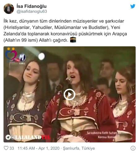 Dünyanın tüm dinlerinden müzisyenler ve sanatçıların koronavirüsü püskürtmek için Allah'ın 99 ismini okuduğu iddiasını içeren paylaşım