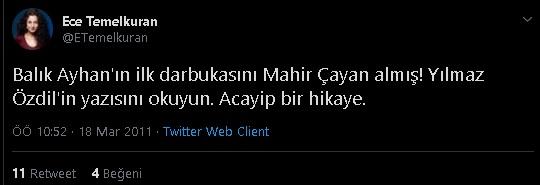 Ece Temelkuran'ın Balık Ayhan'ın ilk darbukasını Mahir Çayan'ın aldığına dair iddiayı paylaştığı tweeti