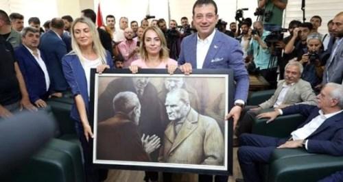 ekrem imamoğlu atatürk portresi hediye