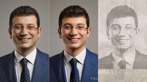 Ekrem İmamoğlu'nun 2013 yılında Mehmet Turgut tarafından çekilen fotoğrafı üzerinde bir uygulama vasıtasıyla yapılan gençleştirme ve eskitme işlemi
