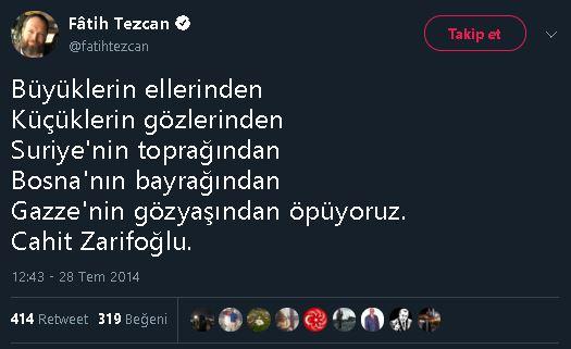 """Fatih Tezcan'ın """"Gazze'nin gözyaşından öpeceğiz"""" mısrasını içeren şiirin sahibini Cahit Zarifoğlu sandığı paylaşımı"""