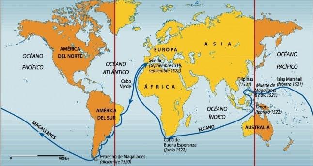 Macellan Dünyanın Etrafını Dolaşma Rotası