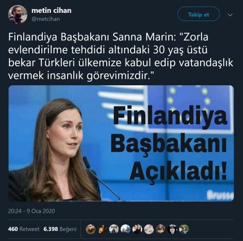 Metin Cihan'ın Finlandiya Başbakanı'nın 30 yaş üstü bekar Türkleri ülkesine davet ettiği yönündeki trollemesi
