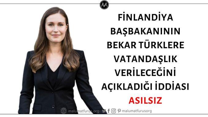 Finlandiya Başbakanı Sanna Marin'in Bekar Türklere Vatandaşlık Vereceğini Açıkladığı İddiası Trolleme Ürünü