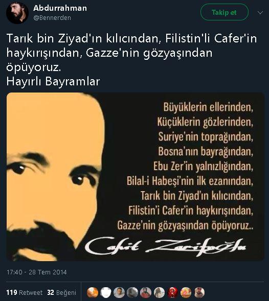 """""""Gazze'nin gözyaşından öpüyoruz"""" şiirinin Cahit Zarifoğlu'na ait olduğunu sanan paylaşım"""