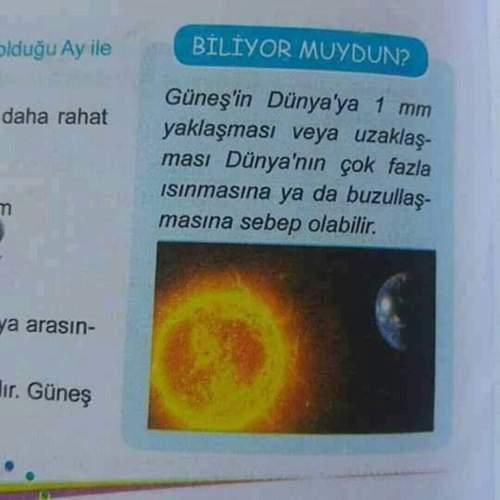 Dünya'nın Güneş'e daha yakın ya da uzak olmasıyla ilgili İlköğretim kitaplarında yer alan iddia