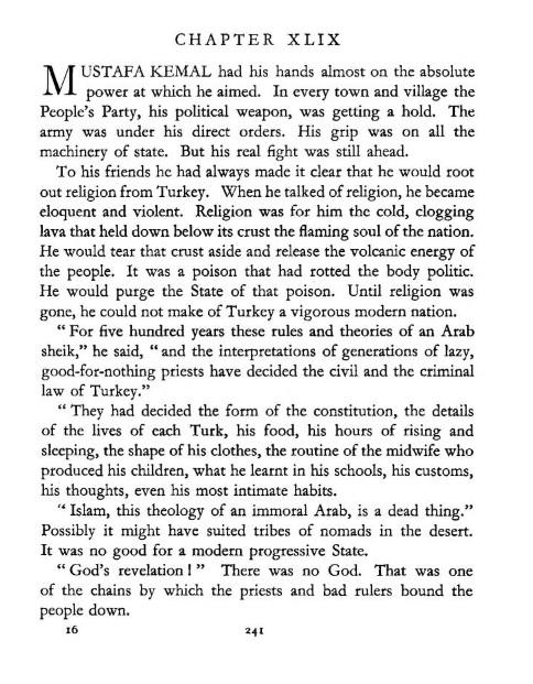 """H. C. Armstrong'un """"Grey Wolf, Mustafa Kemal, An Intimate Study of a Dictator"""" adlı kitabında Atatürk'ün İslâm hakkında söylediği iddia edilen sözün yer aldığı sayfa"""