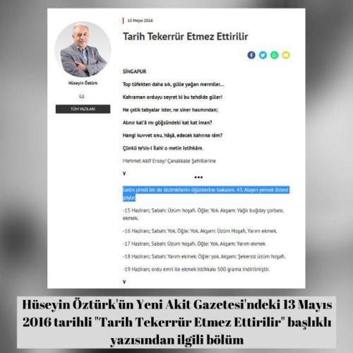 """Hüseyin Öztürk'ün Yeni Akit Gazetesi'ndeki """"Tarih Tekerrür Etmez Ettirilir""""başlıklı 13 Mayıs 2016 tarihli yazısı"""