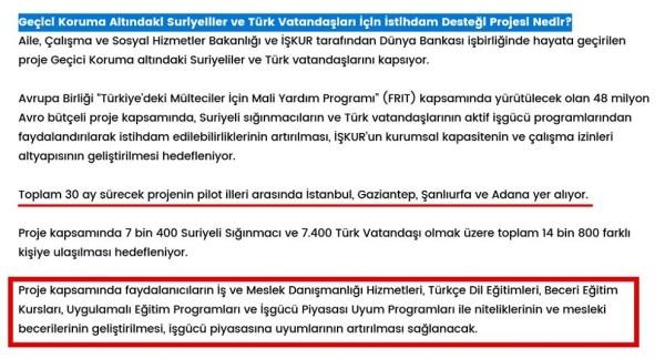 İŞKUR'un internet sitesindeki Geçici Koruma Altındaki Suriyeliler ve Türk Vatandaşları İçin İstihdam Desteği Projesi hakkındaki sayfadan ilgili bölüm