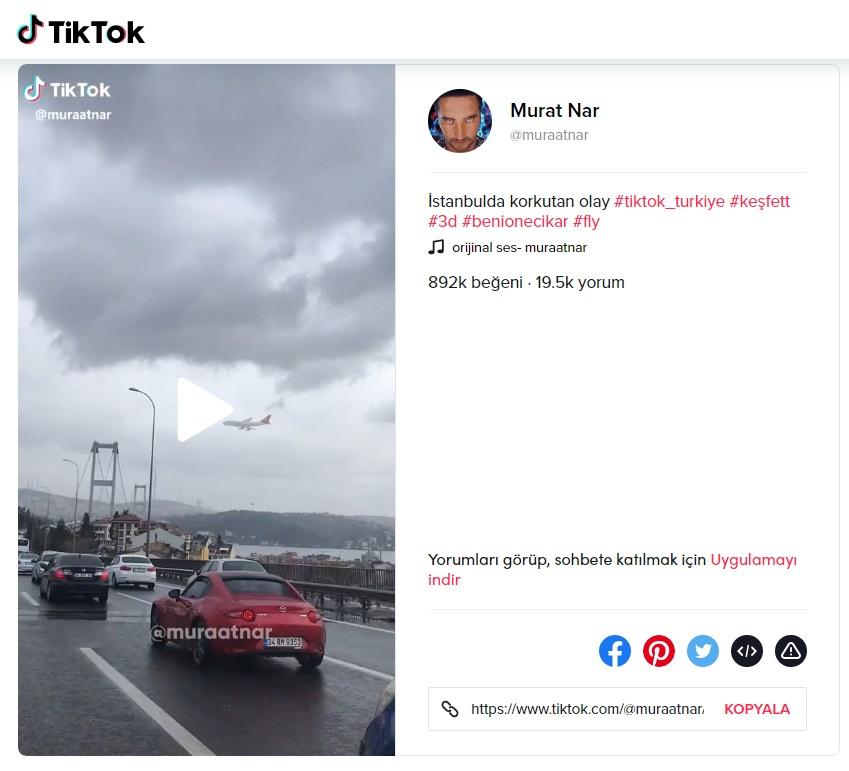 Murat Nar adlı Tiktok kullanıcısının düşen uçak montajına dair paylaşımı