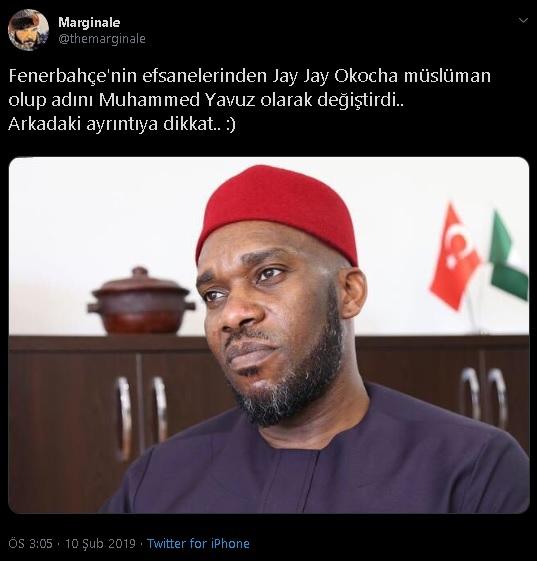 Jay Jay Okocha'nın Din Değiştirerek Müslüman Olduğu ve Muhammed Yavuz İsmini Aldığını İddia Eden Paylaşım