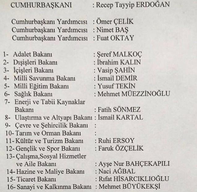 Sosyal medyada paylaşılan kabine listelerinden biri