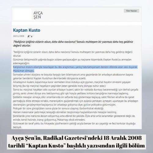"""Ayça Şen'in Radikal Gazetesi'nde 18 Aralık 2008 tarihinde yayınlanan """"Kaptan Kusto"""" başlıklı yazısı"""