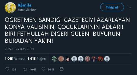 Konya Valisi Cüneyit Orhan Toprak'ın Çocuklarının Adlarının Fetullah ve Gülen Olduğunu İddia Eden Tweet