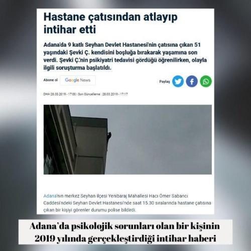 Antalya'da bir koronavirüs hastasının intihar ettiği iddiasıyla paylaşılan video kaydı, Adana'da psikolojik sorunları olan bir kişinin 2019 yılında gerçekleştirdiği intihardan.