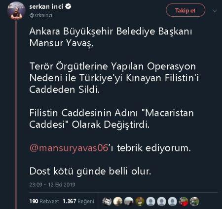 Serkan İnci'nin Mansur Yavaş'ın Ankara'daki Filistin Caddesi'nin ismini Macaristan Caddesi olarak değiştirdiğine dair iddiayı içeren paylaşımı