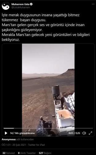 marstan gelen ses ve görüntü