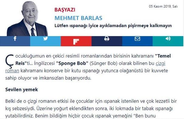 Mehmet Barlas'ın Temel Reis'le Sünger Bob'u birbirine karıştırdığı köşe yazısı