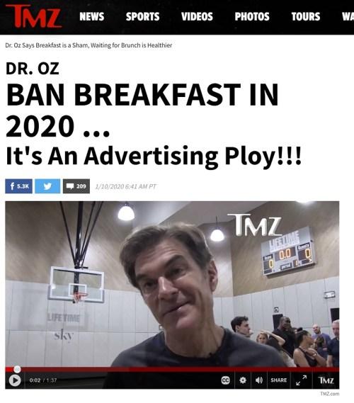 Mehmet Öz'ün kahvaltı hakkındaki demecine yer veren ABD'de yayınlanan TMZ Dergisi'nin internet sitesindeki 10 Ocak 2020 tarihli yazı