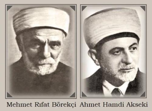 Diyanet İşleri Başkanlığı'nın ilk Reisi Mehmet Rıfat Börekçi ve 3. Reisi Ahmet Hamdi Akseki