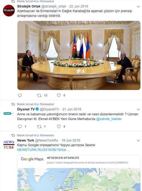 Melek İsmail-Kızı adlı sahte Rus profilin Twitter paylaşımlarından bazıları
