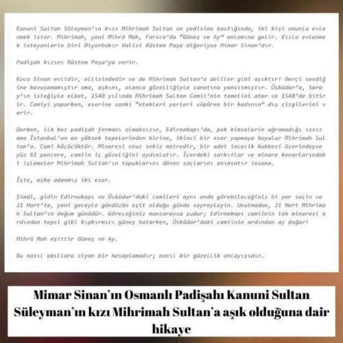 Mimar Sinan'ın Osmanlı Padişahı Kanuni Sultan Süleyman'ın kızı Mihrimah Sultan'a aşık olduğuna dair hikaye