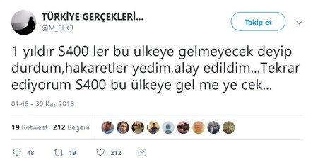 Twitter'da Türkiye Gerçekleri mahlasıyla yazan Mustafa Selanik'in S400'lerin Türkiyeye gelmeyeceği iddiasını içeren tweeti