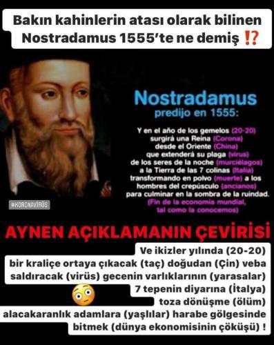Nostradamus'un 2020 yılında gerçekleşecek bir koronavirüs salgınından, yarasalardan, İtalya'dan, yaşlı ölümlerinden ve dünya ekonomisinin çöküşünden bahsettiği iddiasını içeren görsel