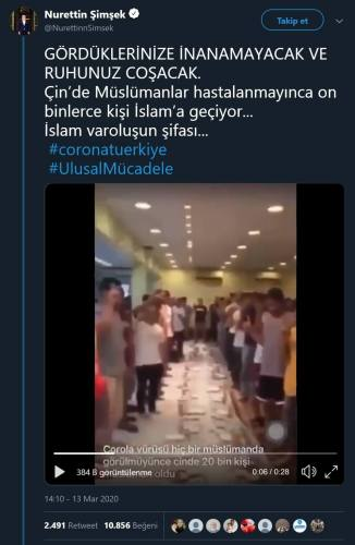 Milat Gazetesinden Nurettin Şimşek'in videonun koronavirüs salgını sonrası ihtida eden Çinlilere olduğuna dair hatalı iddiayı aktardığı paylaşımı