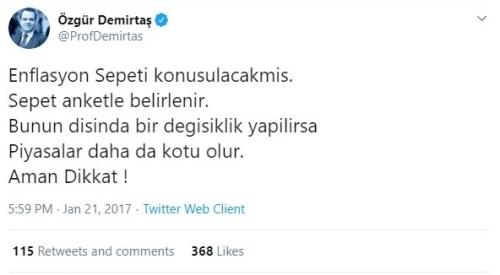 Prof Demirtaş'ın enflsyon sepetine ilişkin uyarısı