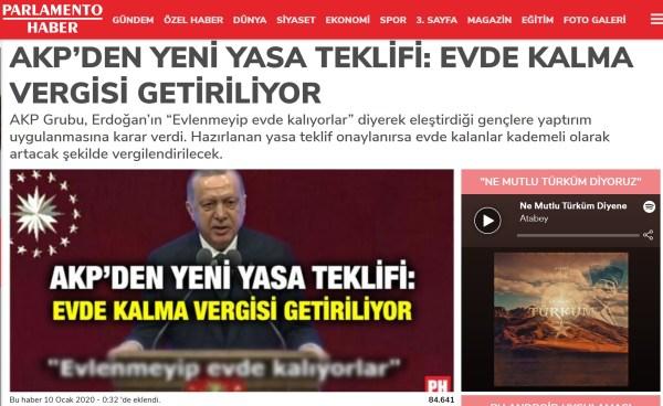 """Parlamento Haber'in Kaparoz'un parodi haberini ciddiye aldığı """"AKP'den Yeni Yasa Teklifi: Evde Kalma Vergisi Getiriliyor"""" başlıklı haberi"""