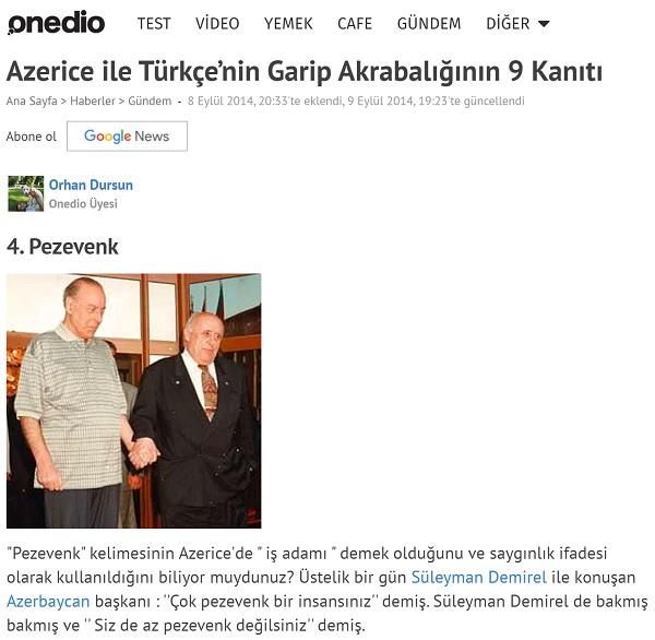 """Süleyman Demirel ve Haydar Aliyev arasında geçen """"pezevenk"""" kelimesi odaklı anlatıyı aktaran Onedio metni"""