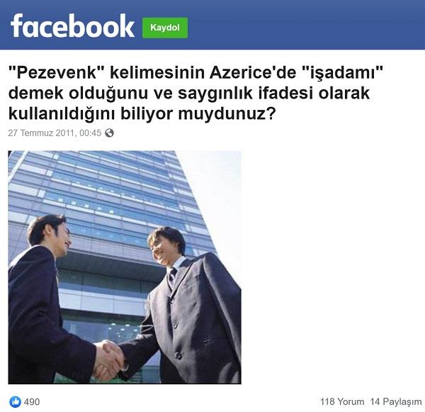 Pezevenk sözcüğünün Azericede iş adamı anlamına sahip olduğunu öne süren paylaşım