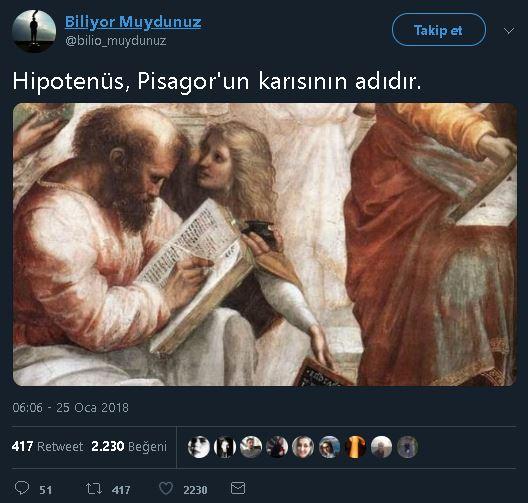 Pisagor'un karısının adının Hipotenüs olduğunu iddia eden paylaşım
