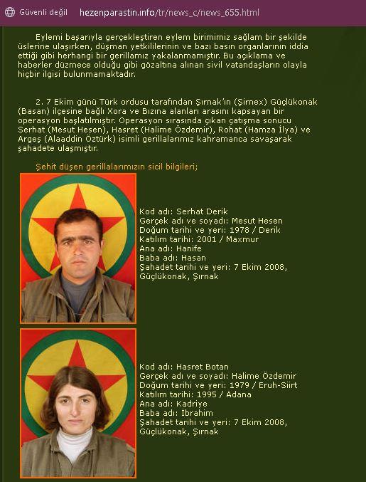 Hasret Botan kod adlı PKK militanı Halime Özdemir