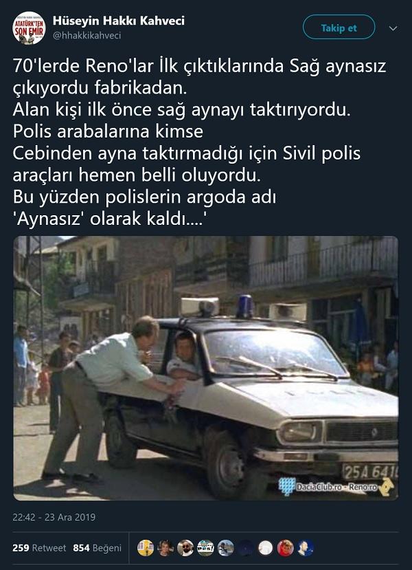 Polis otolarında sağ ayna eksikliği nedeniyle polislere argoda aynasız denilmeye başlandığını öne süren paylaşım