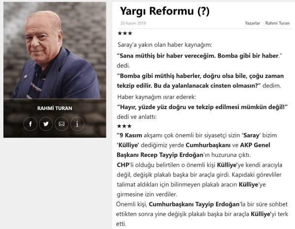 """Rahmi Turan'ın Sözcü Gazetesindeki """"Yargı Reformu (?)"""" başlıklı 20 Kasım 2019 tarihli yazısı"""