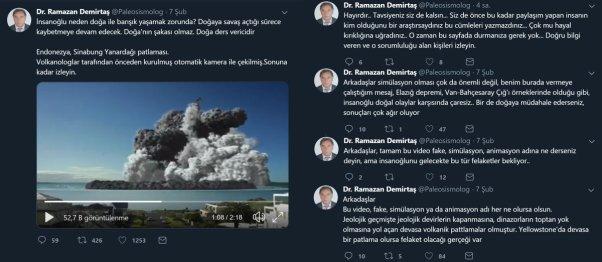 Ramazan Demirtaş'ın Endonezya'daki Sinabung Yanardağı patlamasından olduğu iddiasıyla videoyu paylaştığı tweeti ve ilave açıklama yaptığı paylaşımları