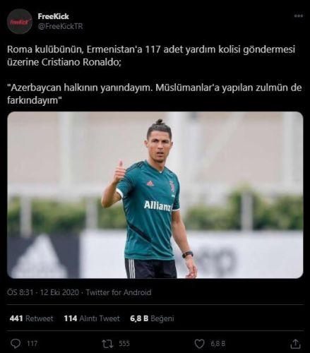 cristiano ronaldo azerbaycan destek mesajı