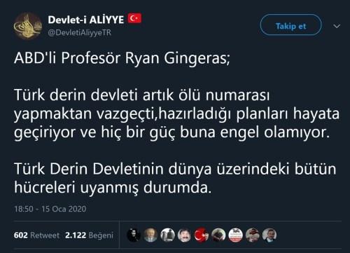 Ryan Gingeras'a atfedilen asılsız sözü paylaşan tweet
