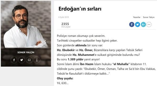 """Soner Yalçın'ın Sözcü Gazetesinde """"Erdoğan'ın Sırları"""" başlığıyla 6 Eylül 2019 günü yayınlanan yazısı"""