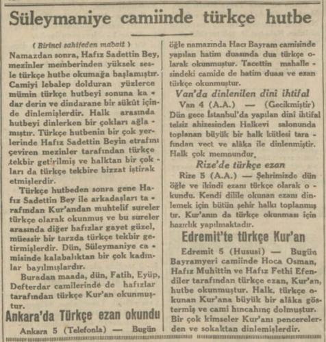 ilk türkçe hutbe okundu